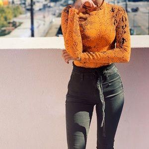 Denim - Denim paper bag high waist jeans